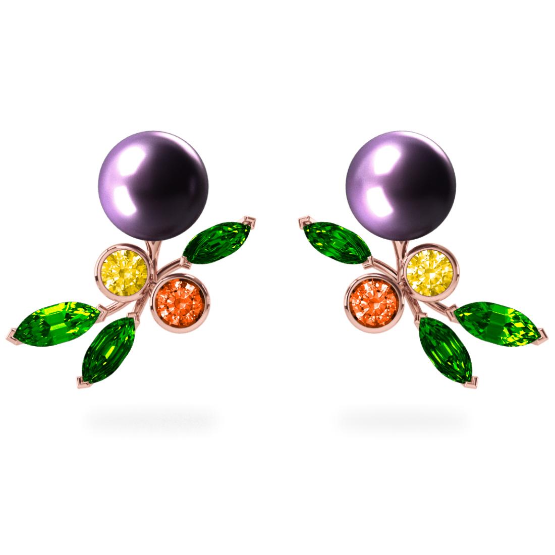 Boucles d'oreilles My Angel Aubergine - Saphirs, diamants, tsavorites & perles de Tahiti <br /> Or jaune 18 carats