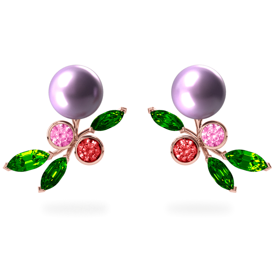 Boucles d'oreilles My Angel Mauve - Saphirs, diamants, tsavorites & perles de Tahiti <br /> Or rose 18 carats