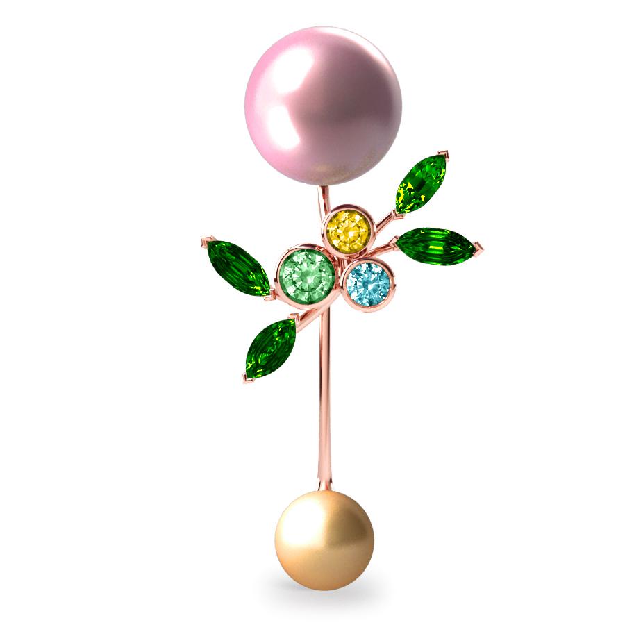 Pendentif Pearly Angel Rose & Or - Saphirs, diamants, tsavorites & perle d'eau douce et des mers du Sud <br /> Or rose 18 carats