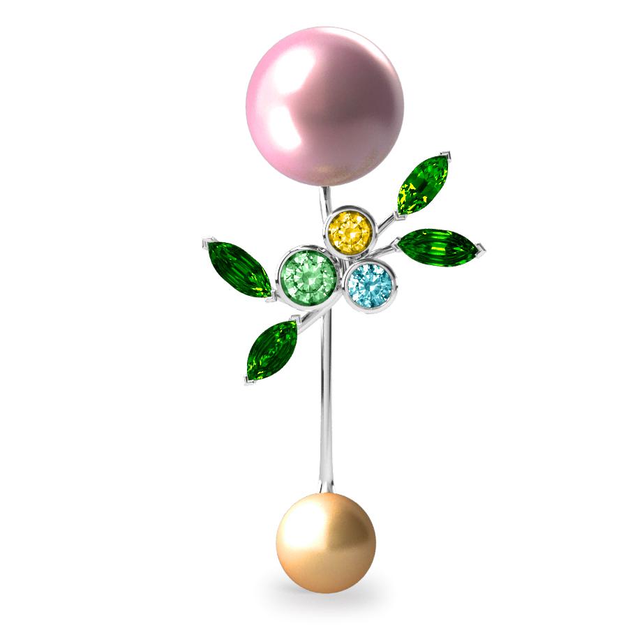 Pendentif Pearly Angel Rose & Or - Saphirs, diamants, tsavorites & perle d'eau douce et des mers du Sud <br /> Or blanc 18 carats