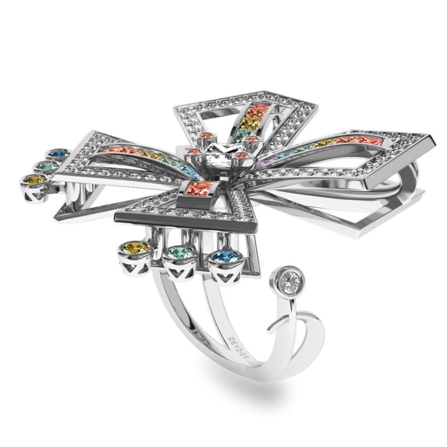 Bague La Vallière - Saphirs multicolores & diamants blancs <br/> Or blanc 18 carats