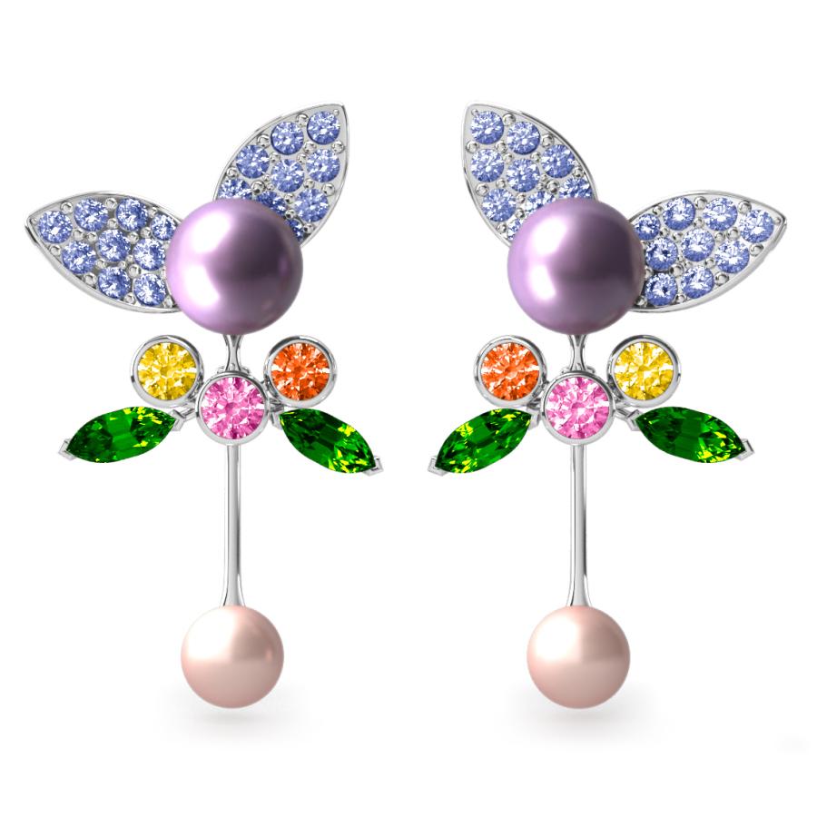 Boucles d'oreilles Pearly Angel Lavande & Ivoire - Saphirs, diamants, tsavorites & perles d'eau douce <br /> Or blanc 18 carats