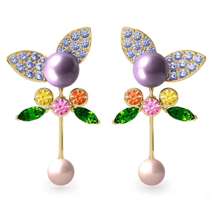 Boucles d'oreilles Pearly Angel Lavande & Ivoire - Saphirs, diamants, tsavorites & perles d'eau douce <br /> Or jaune 18 carats