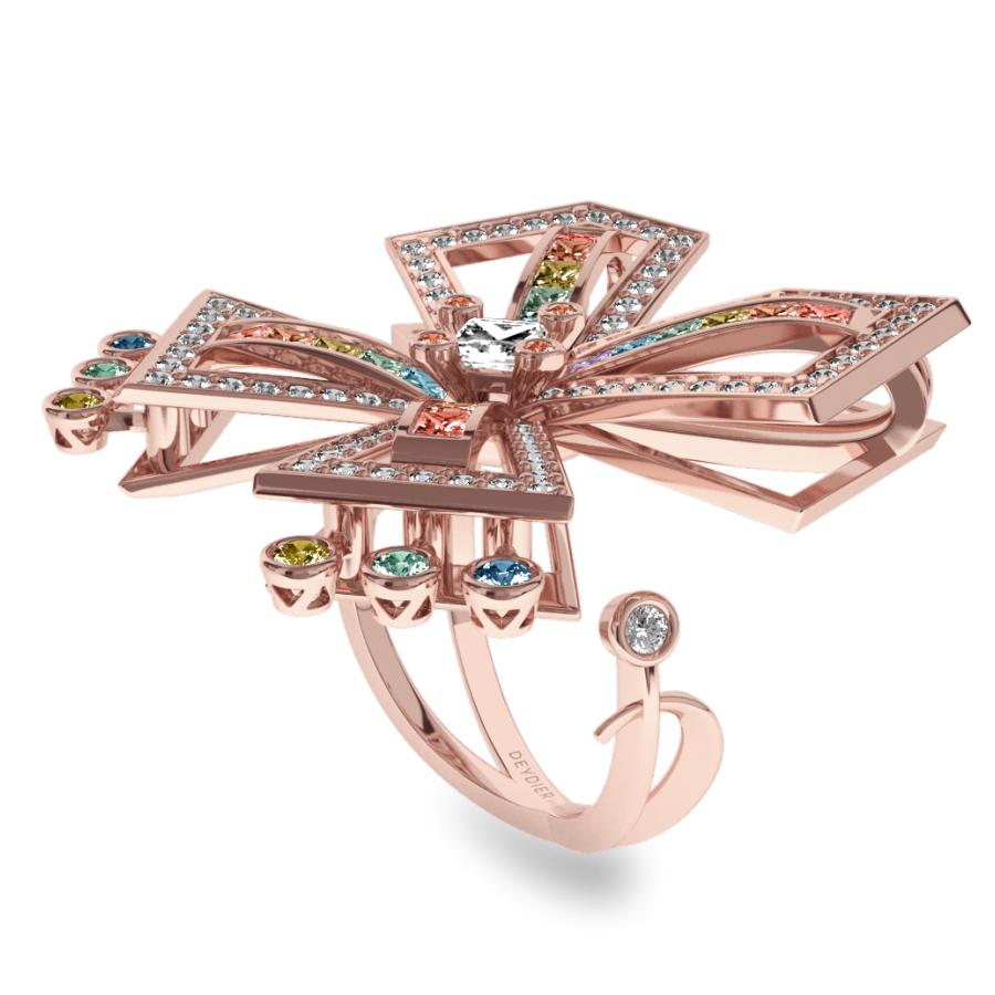 Bague La Vallière - Saphirs multicolores & diamants blancs <br/> Or rose 18 carats
