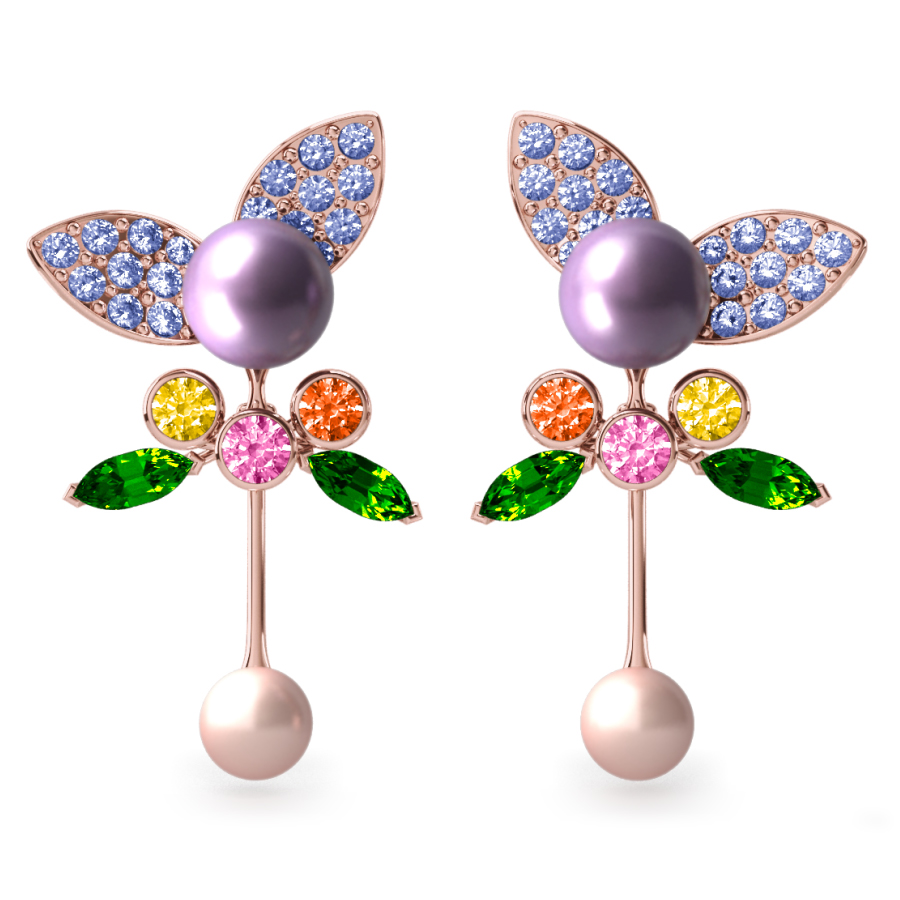 Boucles d'oreilles Pearly Angel Lavande & Ivoire - Saphirs, diamants, tsavorites & perles d'eau douce <br /> Or rose 18 carats