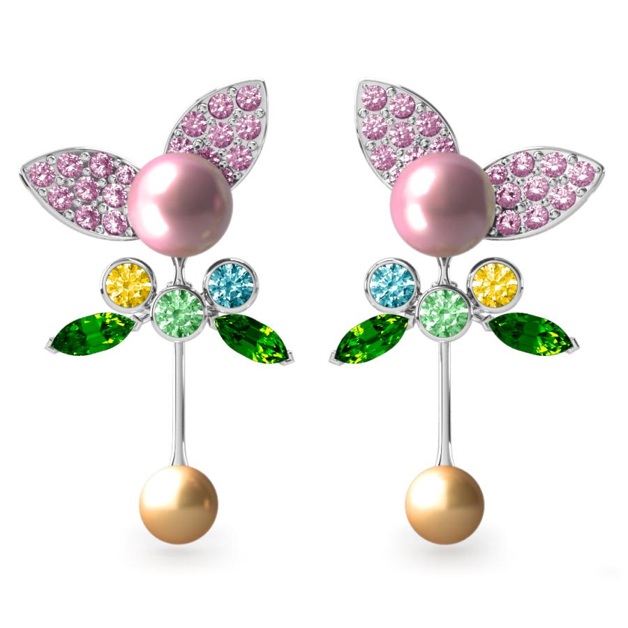 Boucles d'oreilles Pearly Angel Rose & Or - Saphirs, diamants, tsavorites & perle d'eau douce et des mers du Sud <br /> Or blanc 18 carats