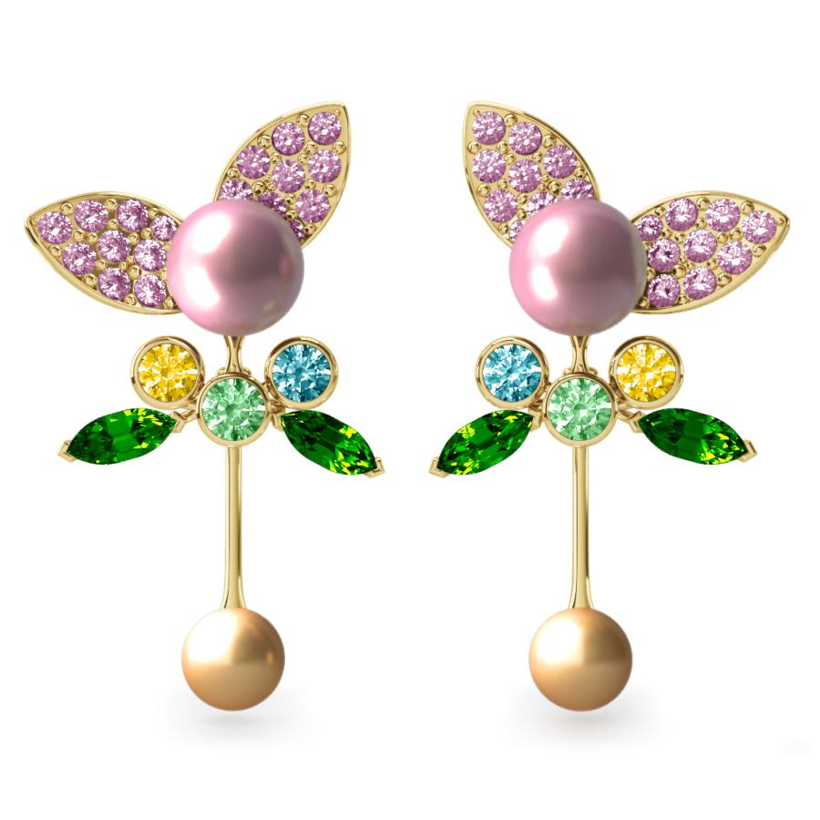 Boucles d'oreilles Pearly Angel Rose & Or - Saphirs, diamants, tsavorites & perle d'eau douce et des mers du Sud <br /> Or jaune 18 carats
