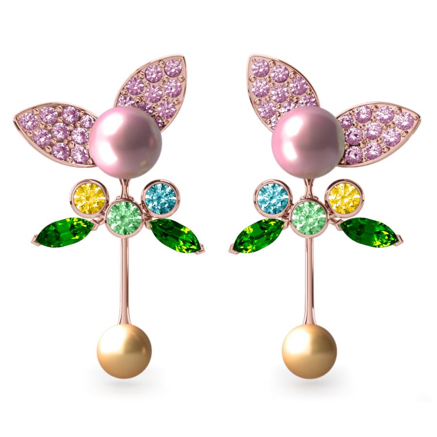 Boucles d'oreilles Pearly Angel Rose & Or - Saphirs, diamants, tsavorites & perle d'eau douce et des mers du Sud <br /> Or rose 18 carats