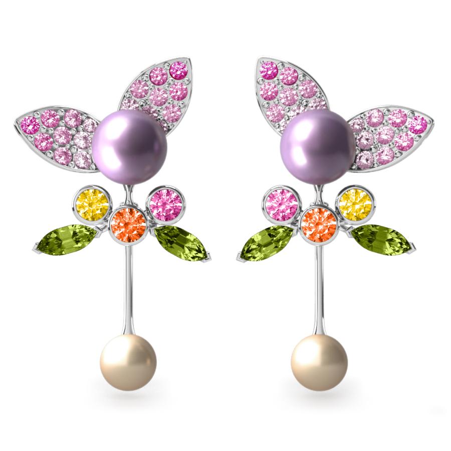Boucles d'oreilles Pearly Angel Mauve & Ivoire - Saphirs, diamants, péridots & perles d'eau douce <br /> Or blanc 18 carats