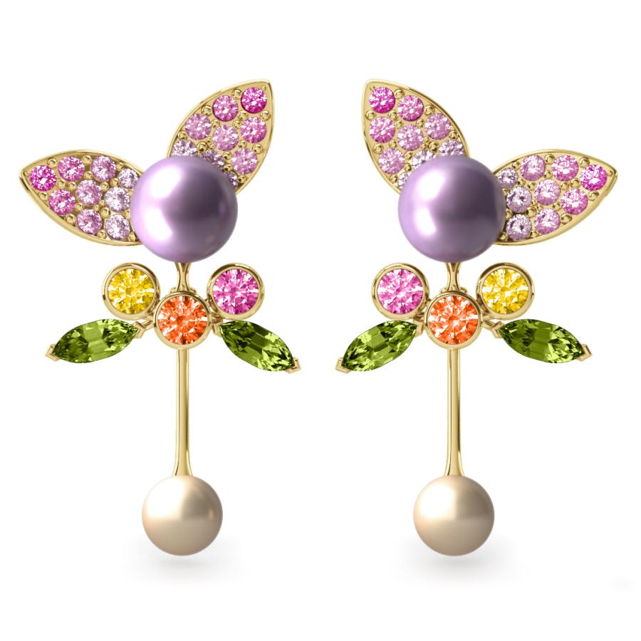 Boucles d'oreilles Pearly Angel Mauve & Ivoire - Saphirs, diamants, péridots & perles d'eau douce <br /> Or jaune 18 carats