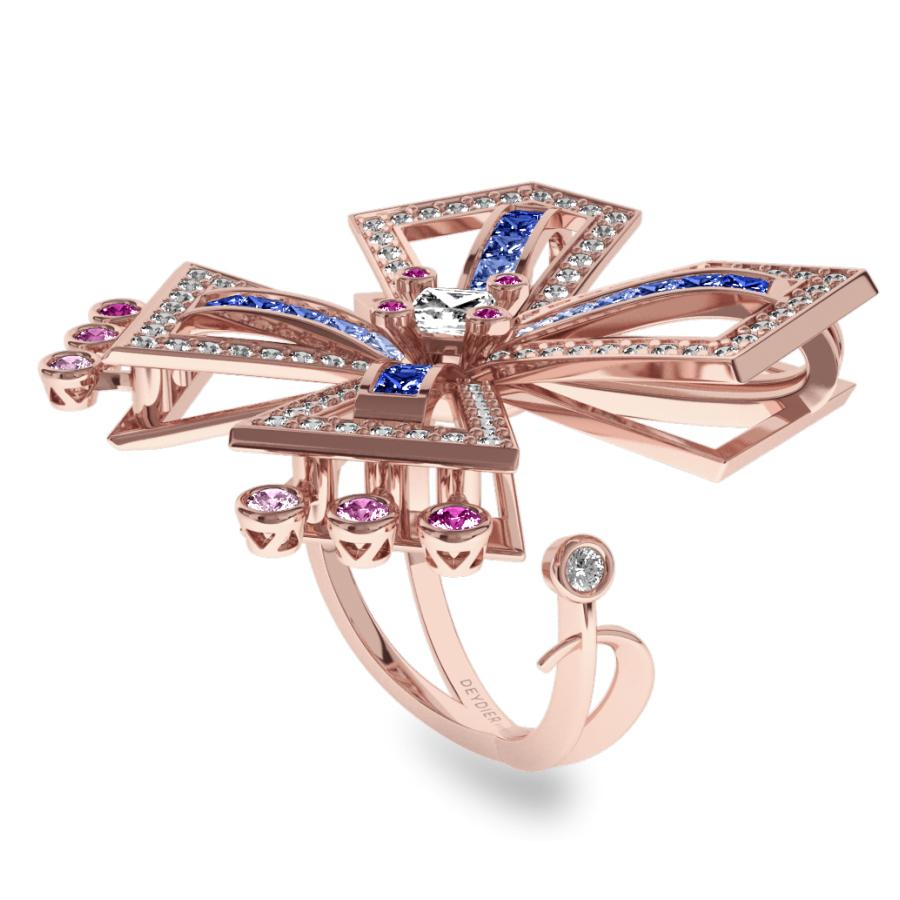 Bague La Vallière - Saphirs en dégradé & diamants blancs <br/> Or rose 18 carats