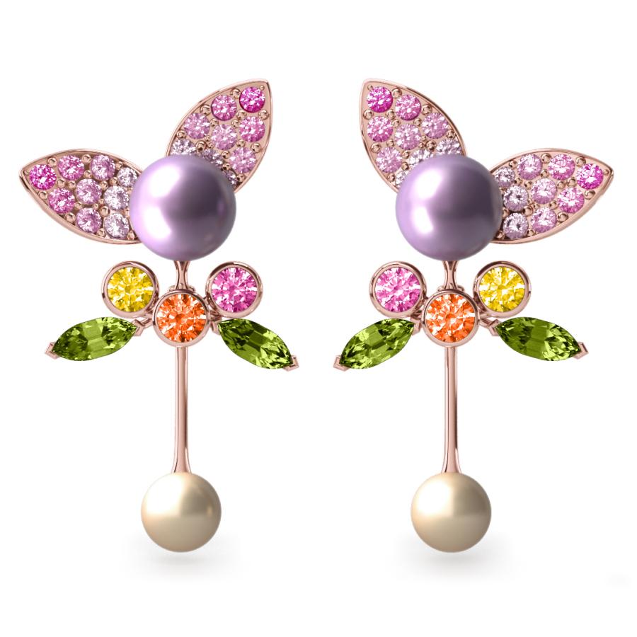 Boucles d'oreilles Pearly Angel Mauve & Ivoire - Saphirs, diamants, peridots & perles de Tahiti <br /> Or blanc 18 carats