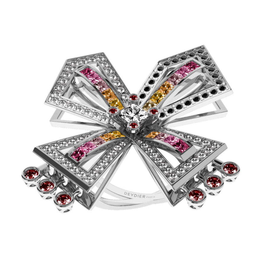 Bague La Vallière - Saphirs multicolores, rubis, diamants blancs & noirs <br/> Or blanc 18 carats