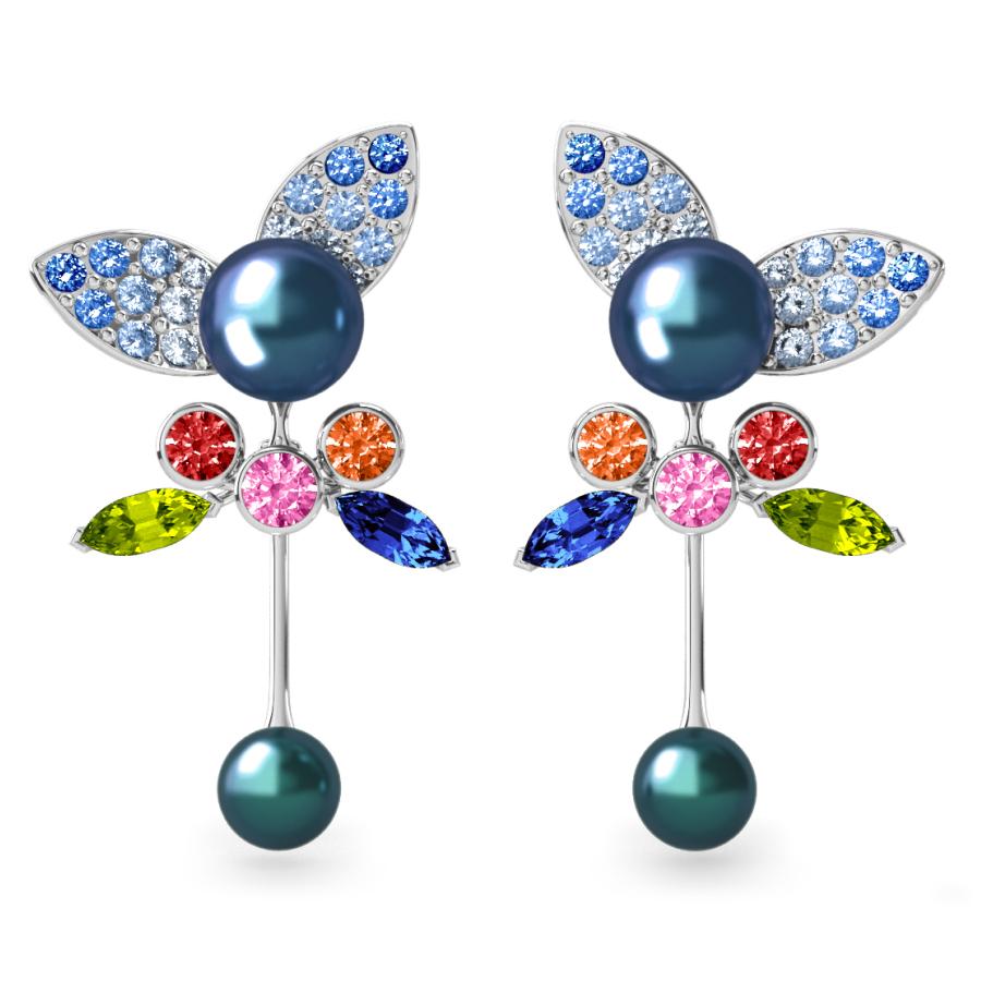 Boucles d'oreilles Pearly Angel Peacock & Céleste - Saphirs, diamants, peridots & perles de Tahiti <br /> Or blanc 18 carats