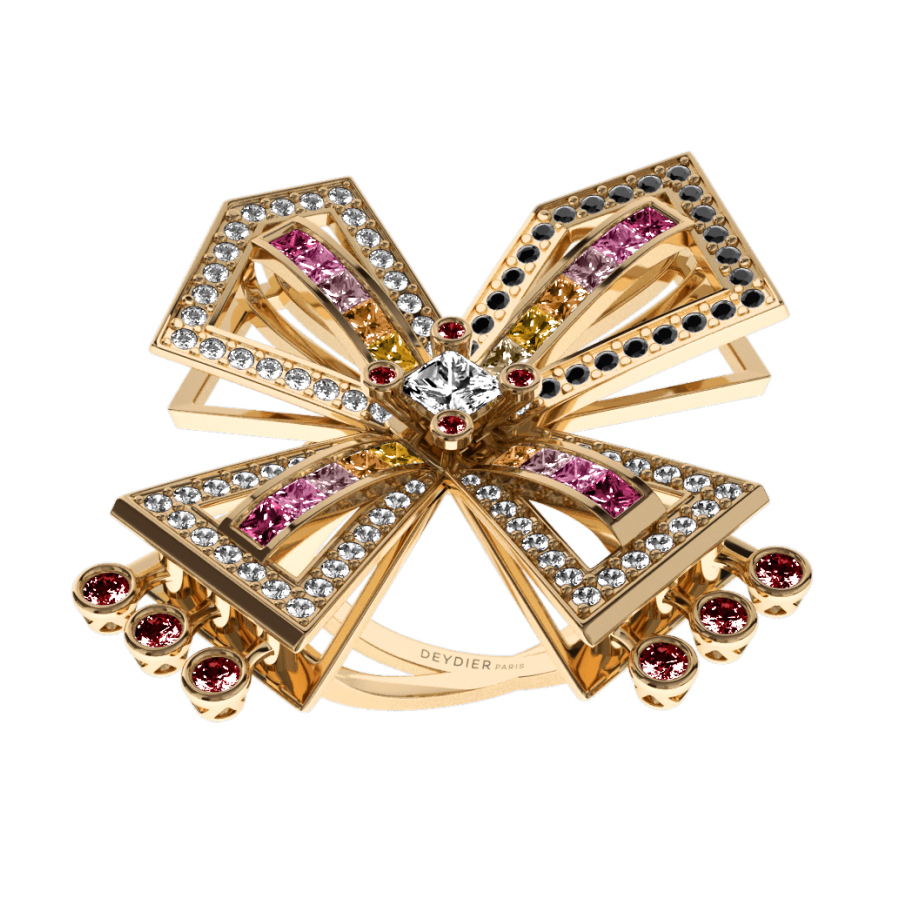 Bague La Vallière - Saphirs multicolores, rubis, diamants blancs & noirs <br/> Or jaune 18 carats