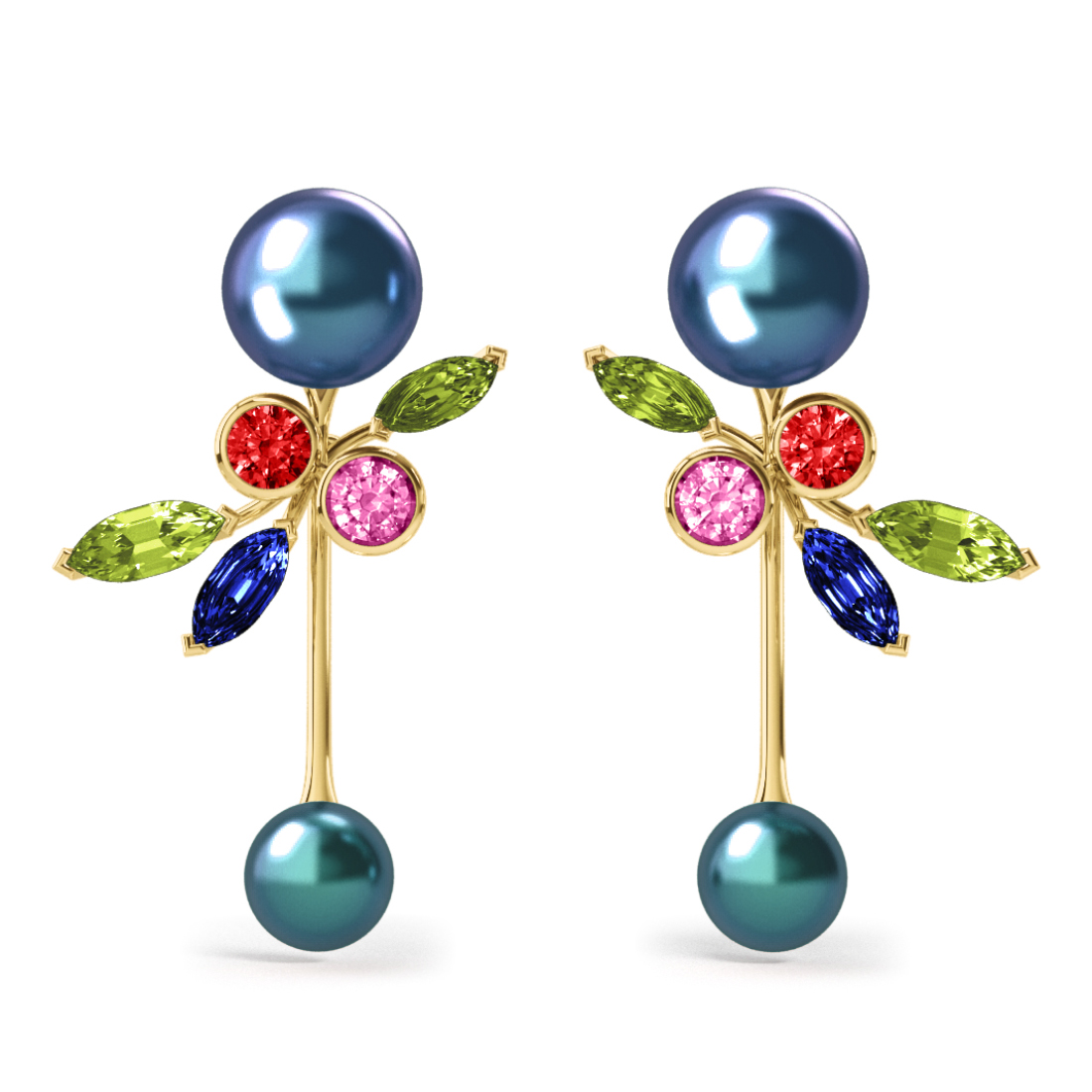 Boucles d'oreilles Pearly Angel Peacock & Céleste - Saphirs, diamants, peridots & perles de Tahiti <br /> Or jaune 18 carats