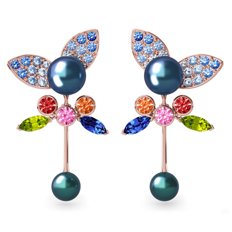 Boucles d'oreilles Pearly Angel Peacock & Céleste - Saphirs, diamants, peridots & perles de Tahiti <br /> Or rose 18 carats
