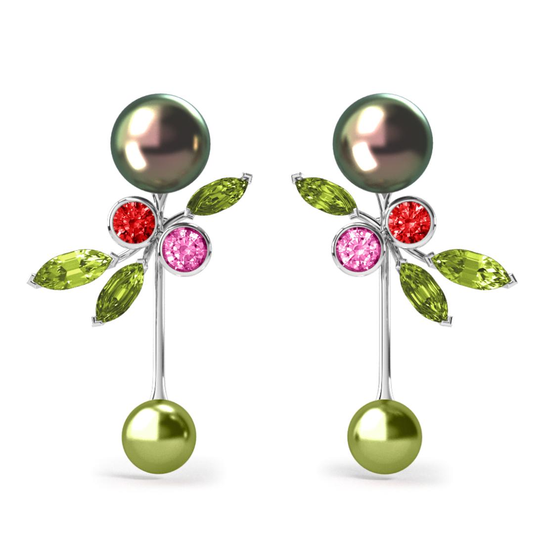 Boucles d'oreilles Pearly Angel Peacock & Pistache - Saphirs, diamants, peridots & perles de Tahiti <br /> Or blanc 18 carats