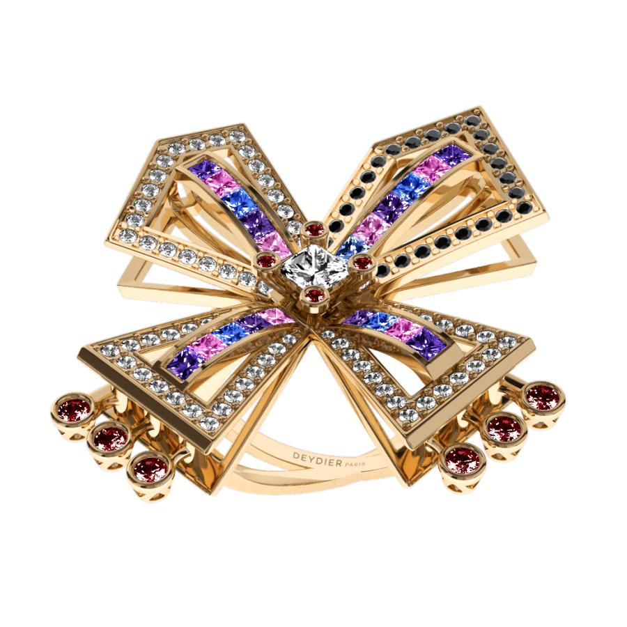 Bague La Vallière - Saphirs multicolores, rubis, diamants blancs & noirs <br/> Or jaune 18 carats