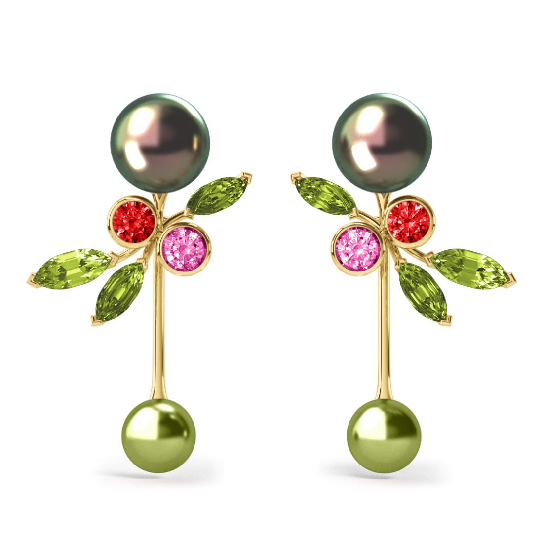 Boucles d'oreilles Pearly Angel Peacock & Pistache - Saphirs, diamants, peridots & perles de Tahiti <br /> Or jaune 18 carats