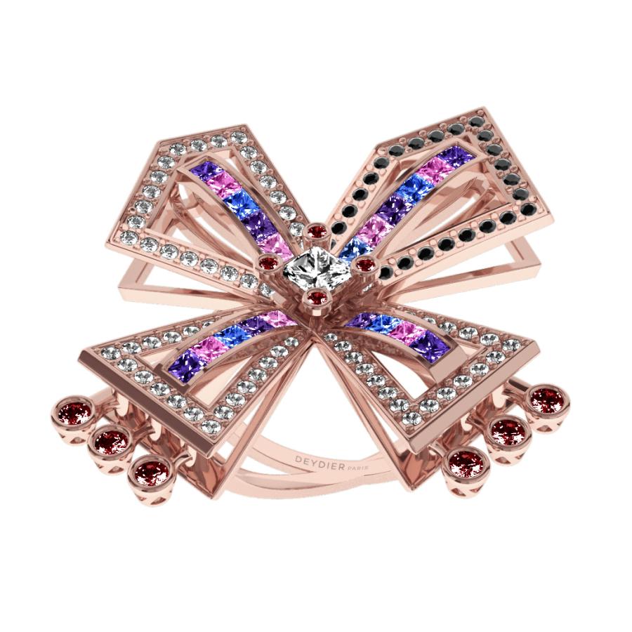 Bague La Vallière - Saphirs multicolores, rubis, diamants blancs & noirs <br/> Or rose 18 carats