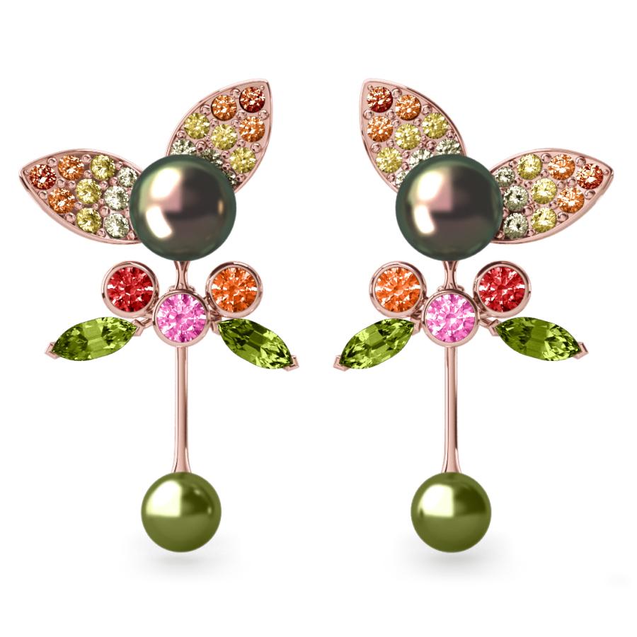 Boucles d'oreilles Pearly Angel Peacock & Pistache - Saphirs, diamants, peridots & perles de Tahiti <br /> Or rose 18 carats