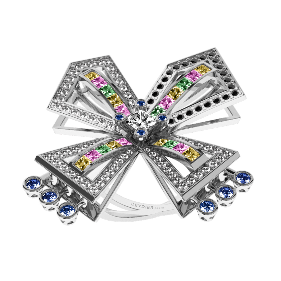 Bague La Vallière - Saphirs multicolores, diamants blancs & noirs <br/> Or blanc 18 carats