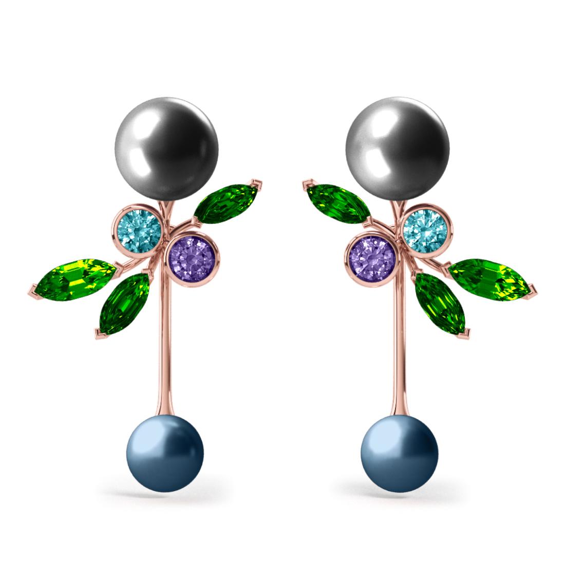 Boucles d'oreilles Pearly Angel Grise & Bleu - Saphirs, diamants, tsavorites & perles de Tahiti <br /> Or blanc 18 carats
