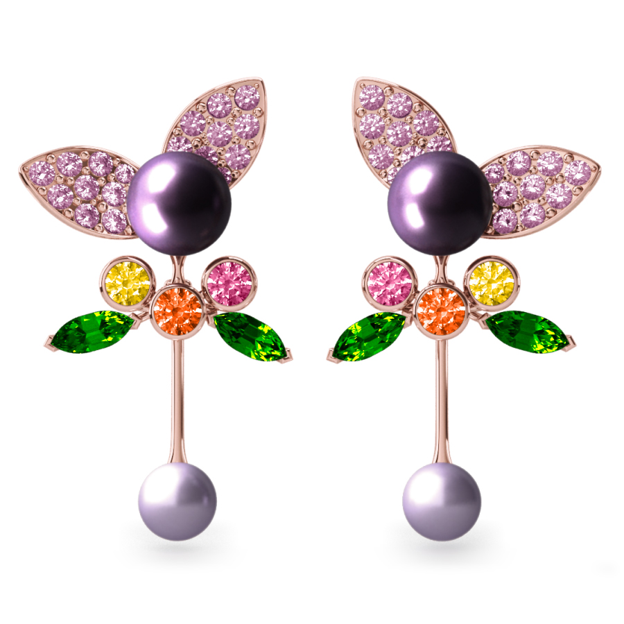 Boucles d'oreilles Pearly ngel Aubergine & Mauve - Saphirs, diamants, tsavorites & perles de Tahiti <br /> Or jaune 18 carats