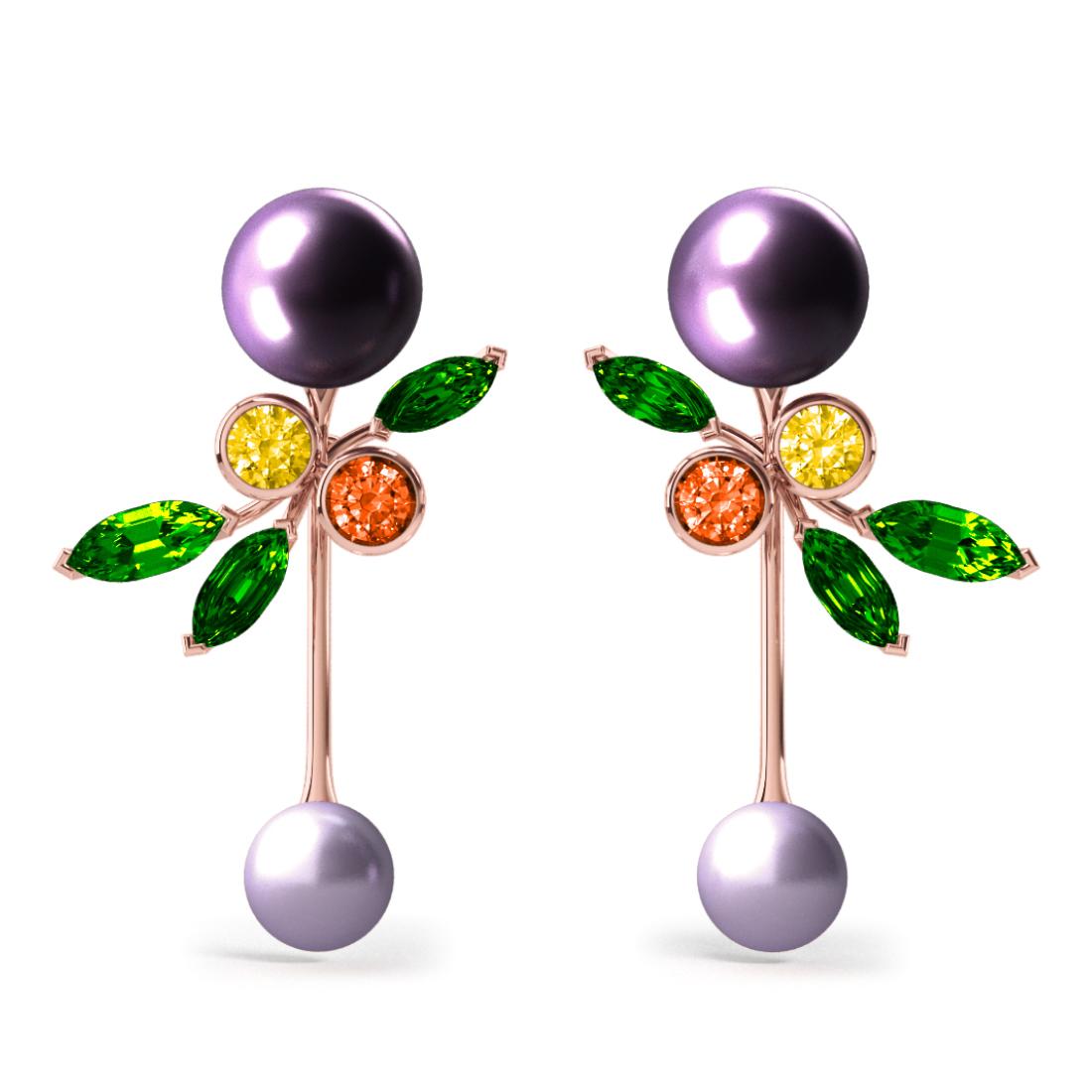 Boucles d'oreilles Pearly Angel Aubergine & Mauve - Saphirs, diamants, tsavorites & perles de Tahiti <br /> Or jaune 18 carats
