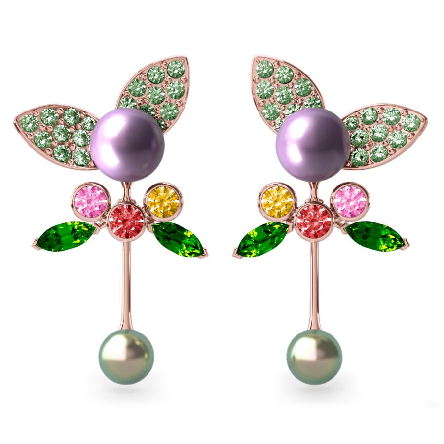 Boucles d'oreilles Pearly Angel Aubergine & Mauve - Saphirs, diamants, tsavorites & perles de Tahiti <br /> Or rose 18 carats