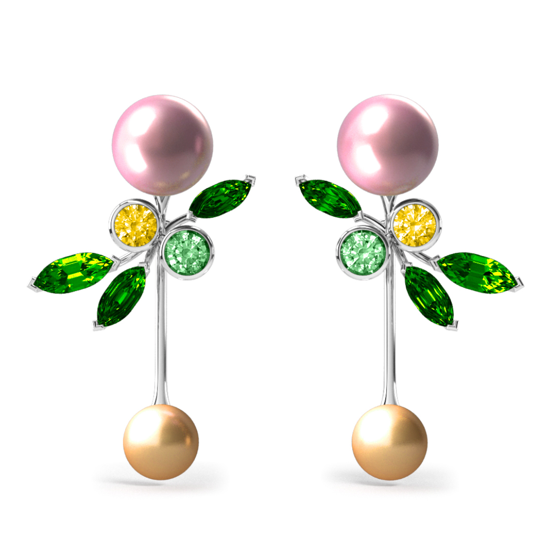 Boucles d'oreilles Pearly Angel Rose & Gold - Saphirs, diamants, tsavorites & perle d'eau douce et des mers du Sud <br /> Or blanc 18 carats
