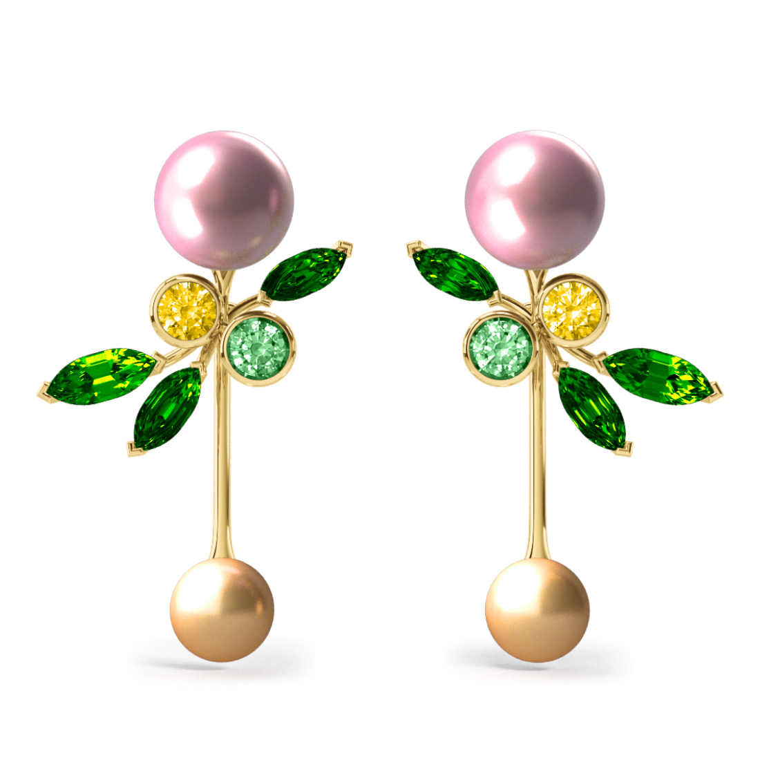 Boucles d'oreilles Pearly Angel Rose & Gold - Saphirs, diamants, tsavorites & perle d'eau douce et des mers du Sud <br /> Or jaune 18 carats