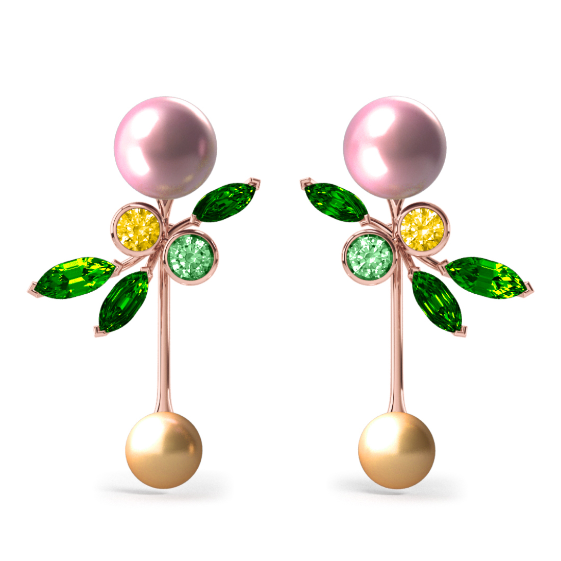 Boucles d'oreilles Pearly Angel Rose & Gold - Saphirs, diamants, tsavorites & perle d'eau douce et des mers du Sud <br /> Or rose 18 carats